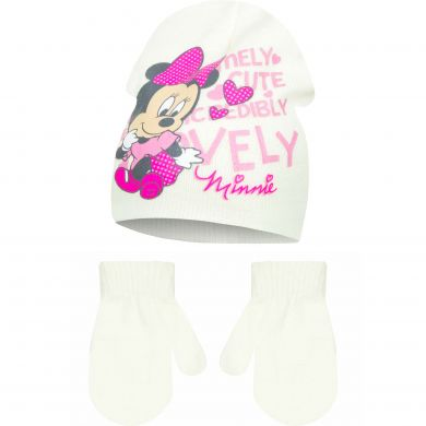 Disney Minnie Mouse Strick-Haube + Fäustlinge weiß